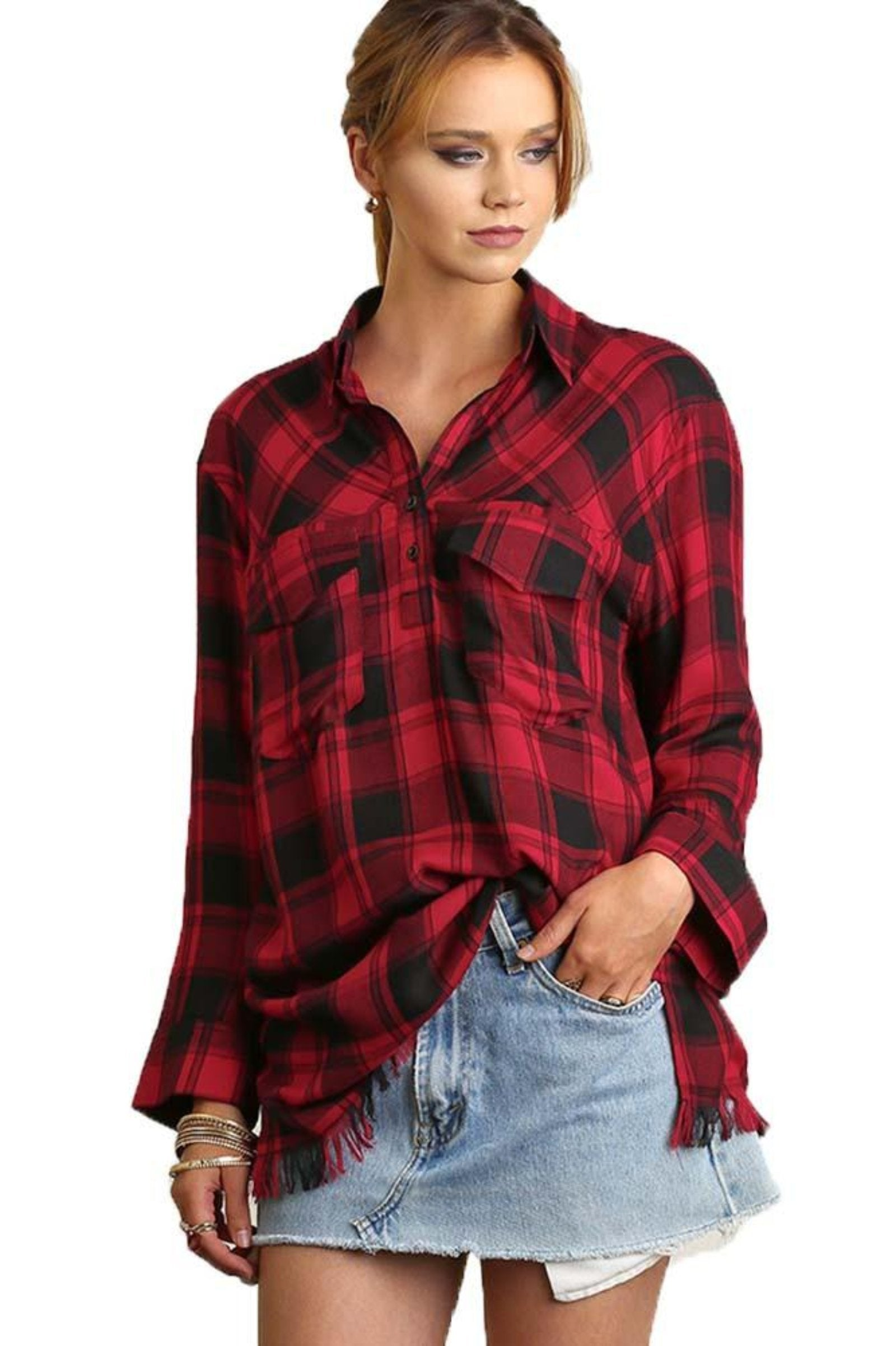 Umgee Women's RED Flannel Three-Button Tunic with Frayed Hem