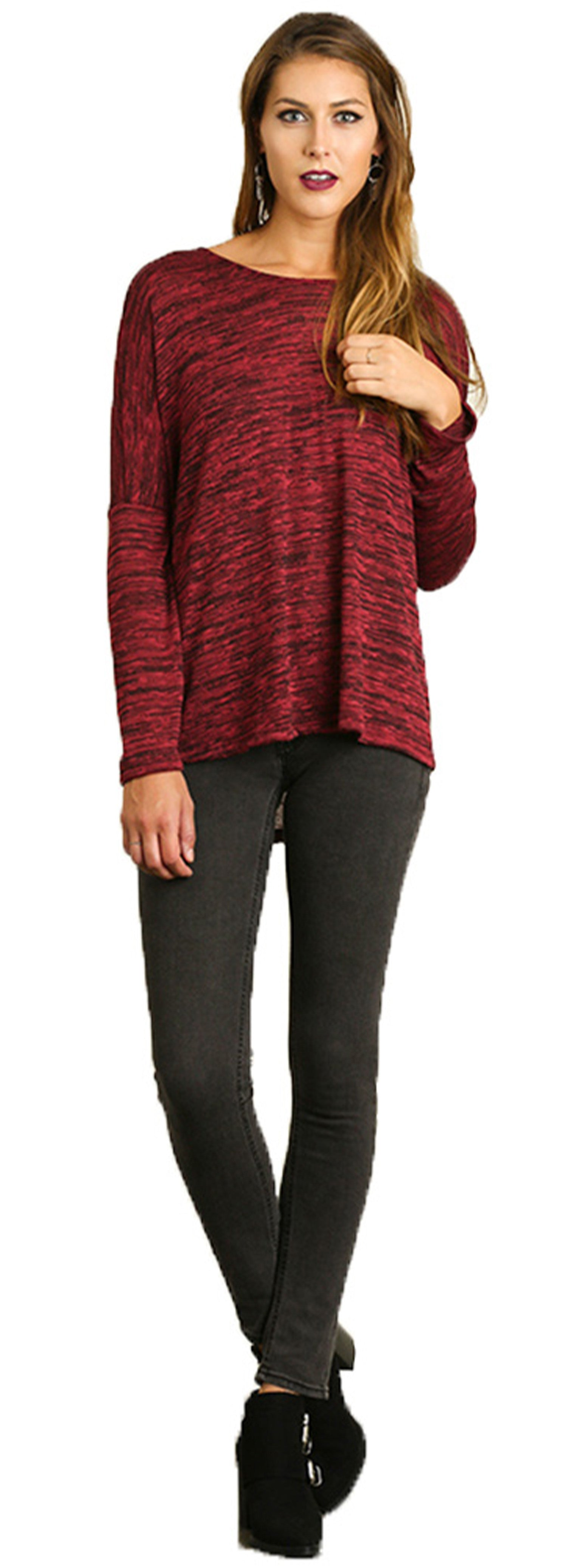 Ruby Marled Oversize dolman sleeve Top with High-low hem