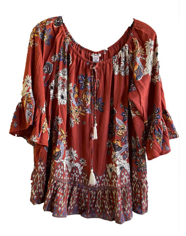 Rust Floral Ruffle Top