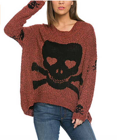 Rust Skull Sweater