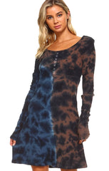 Rusty Brown Navy Tie Dye Thermal Dress.jpg