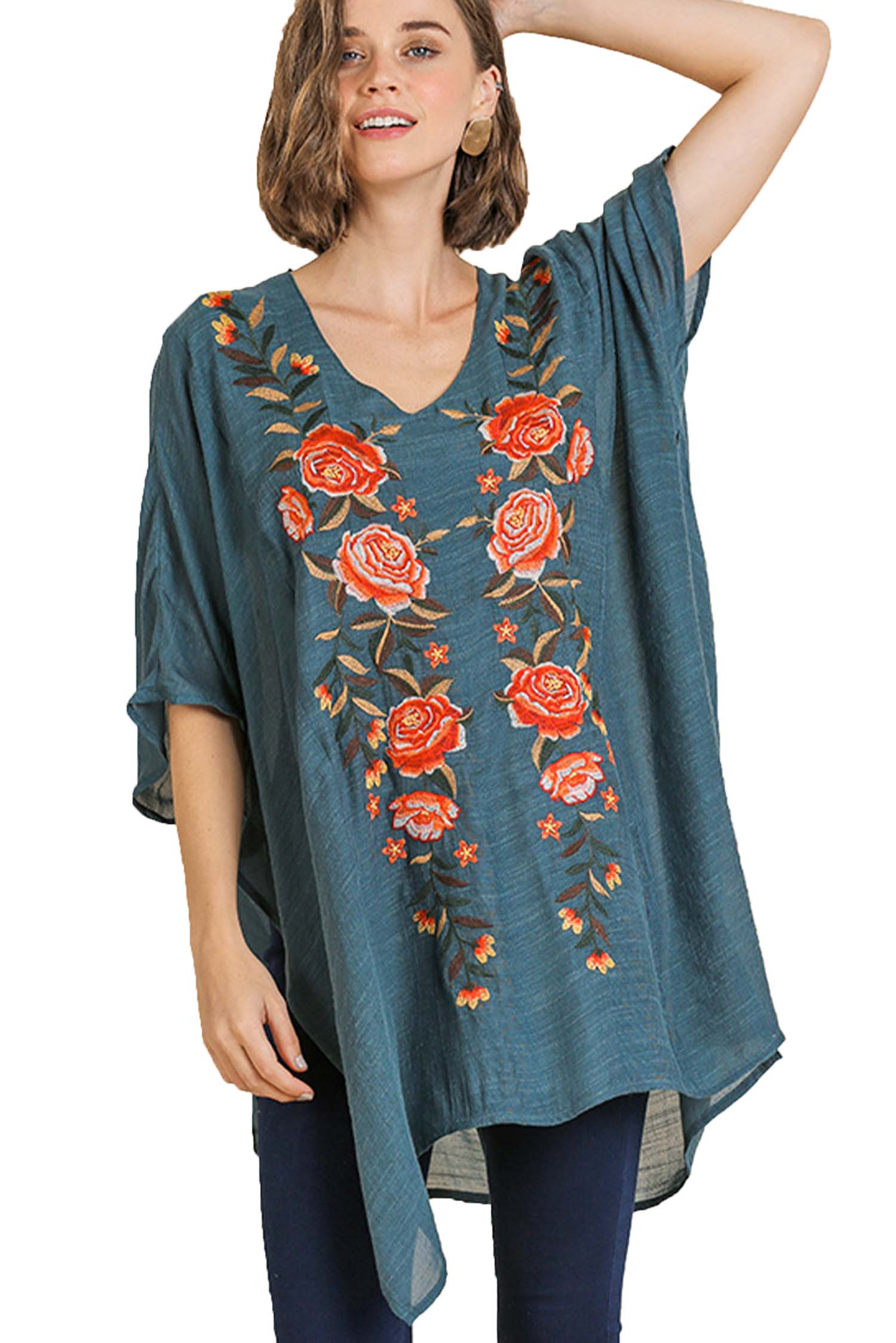 Seaweed Floral Embroidered V-Neck Kaftan with Side Slits