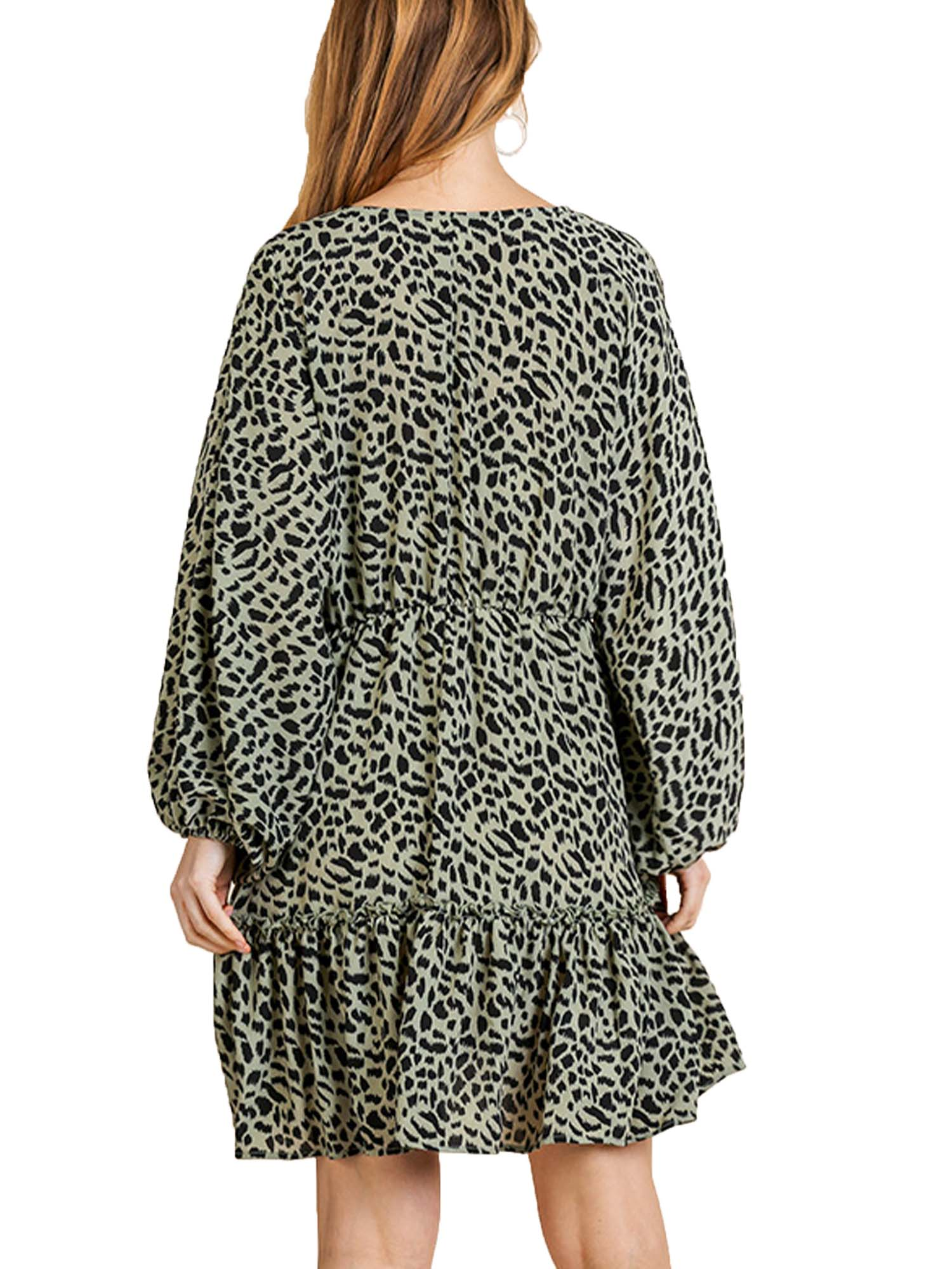 Sage Animal Print V-Neck Dress with Ruffle Trim and Neck Tie
