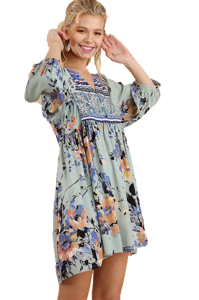 Umgee Women's Sage Bohemian Tunic or Dress
