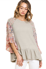 Sage Floral Paisley Mixed Print Bell Sleeve Waffle Knit Top with Ruffle Trim