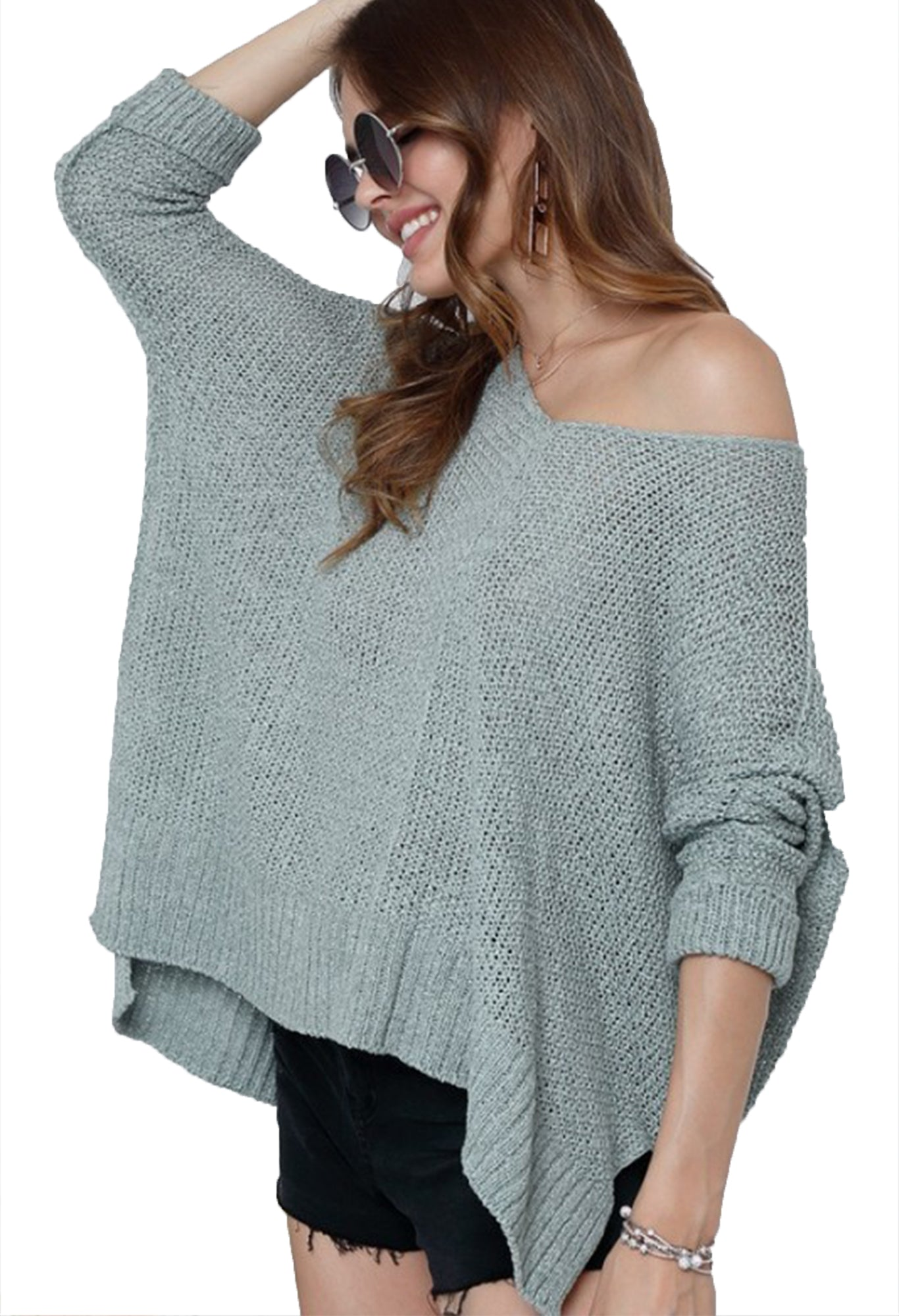 Seafoam Oversize Tunic Lightweight  Sweater
