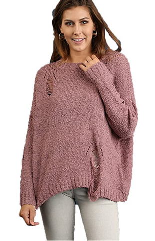 Mauve Distressed Sweater Size XL