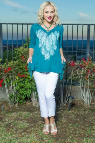 Cover Charge Turquoise Feather Fringe Tunic Size XL
