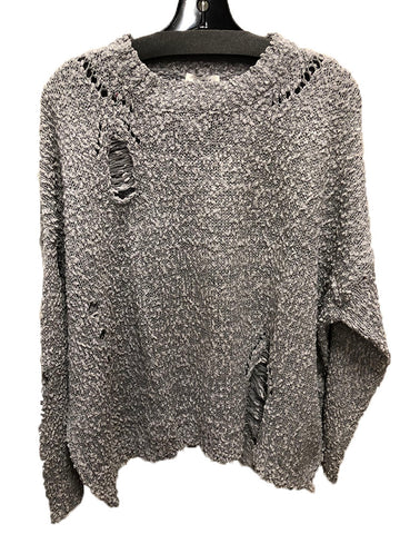 Silver Distressed Sweater Size L