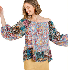 Sky Mix Paisley Mixed Print Long Puff Sleeve Off Shoulder Top