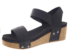 Slidell Black Comfort Wedge Sandal
