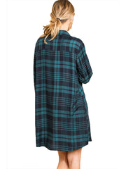 Teal Flannel Plaid Print Long Sleeve Button Front Dress Tunic