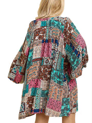 Teal Mix Multicolor Paisley Print Split Neck Dress