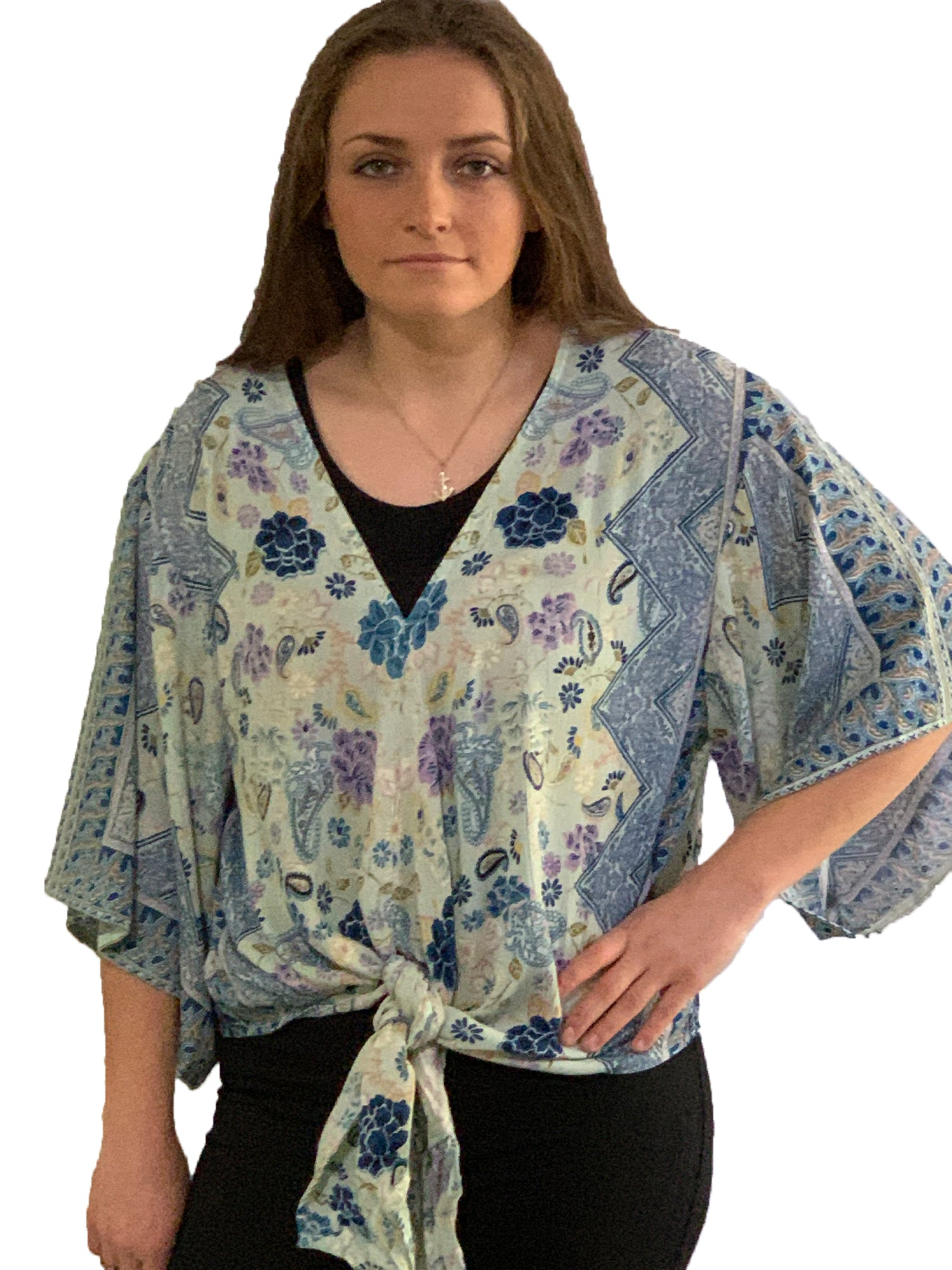 Teal Multi Tie Front Top
