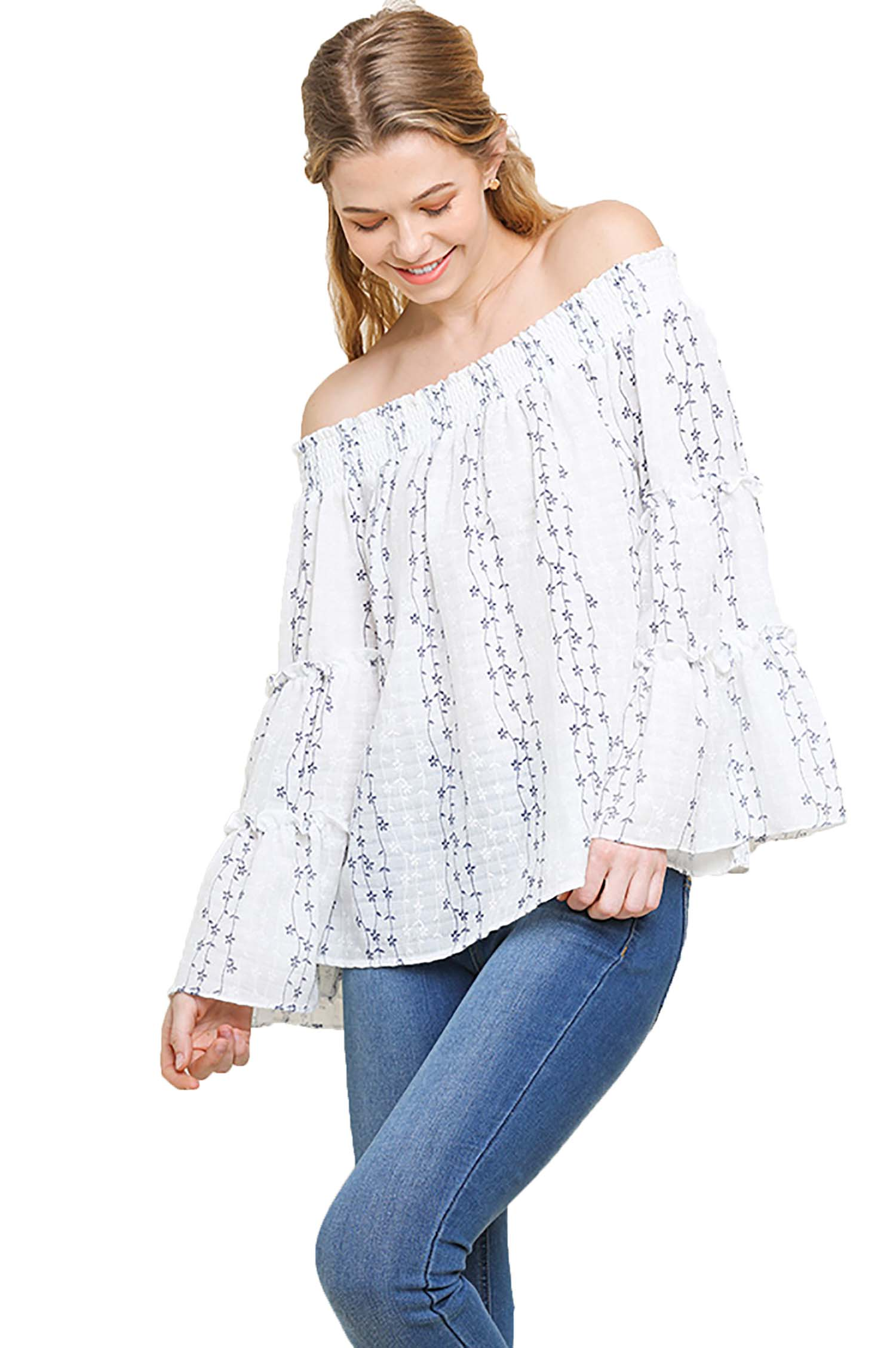White Floral Embroidered Smocked Off Shoulder Top