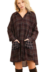Wine Plaid Shirt Pocket Dress Tunic with Roll Up Sleeves