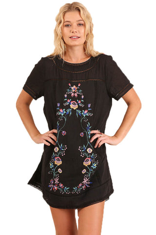 Black Short Sleeve A-Line Floral Embroidered Dress