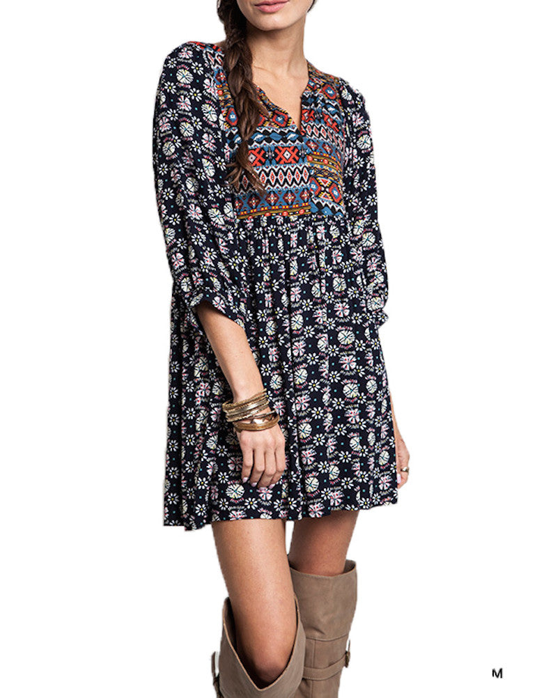 Umgee Navy Mix Boho Dress Size Regular and Plus
