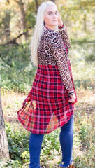 Pine Ridge Plaid Cardigan with Leopard