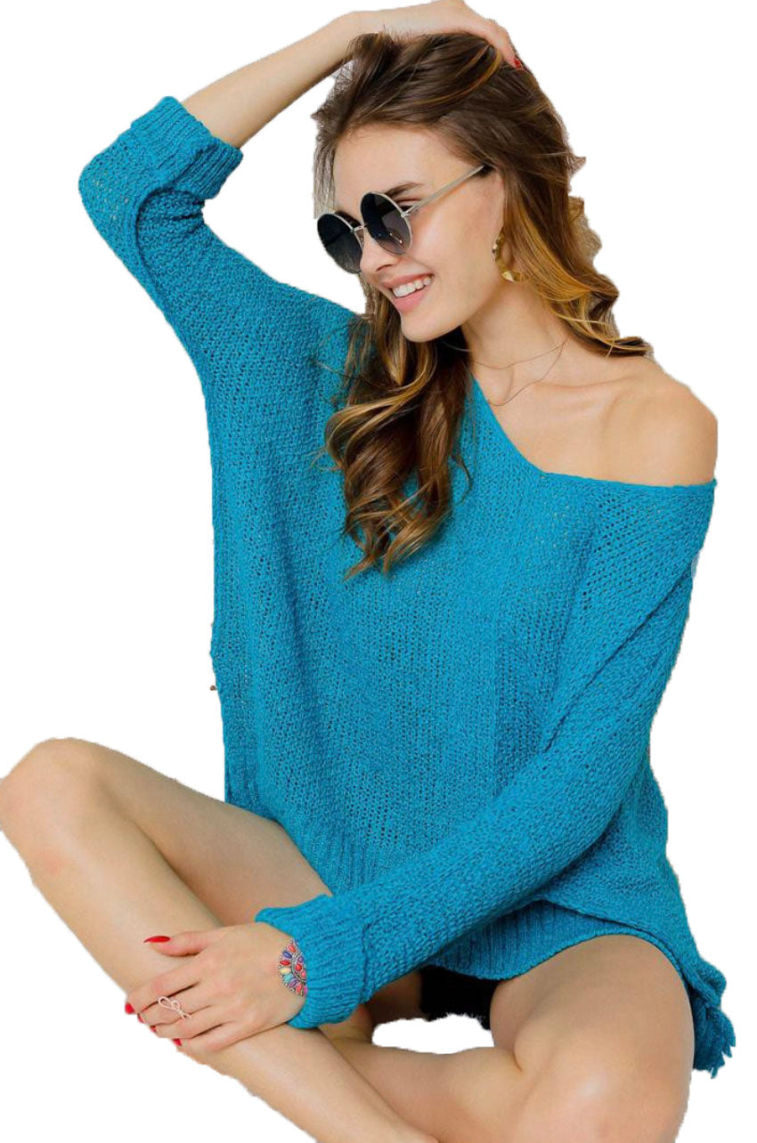 Turquoise Oversize Tunic Lightweight Sweater