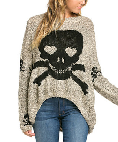 Grey Skull sweater with a Shark Bite Hem