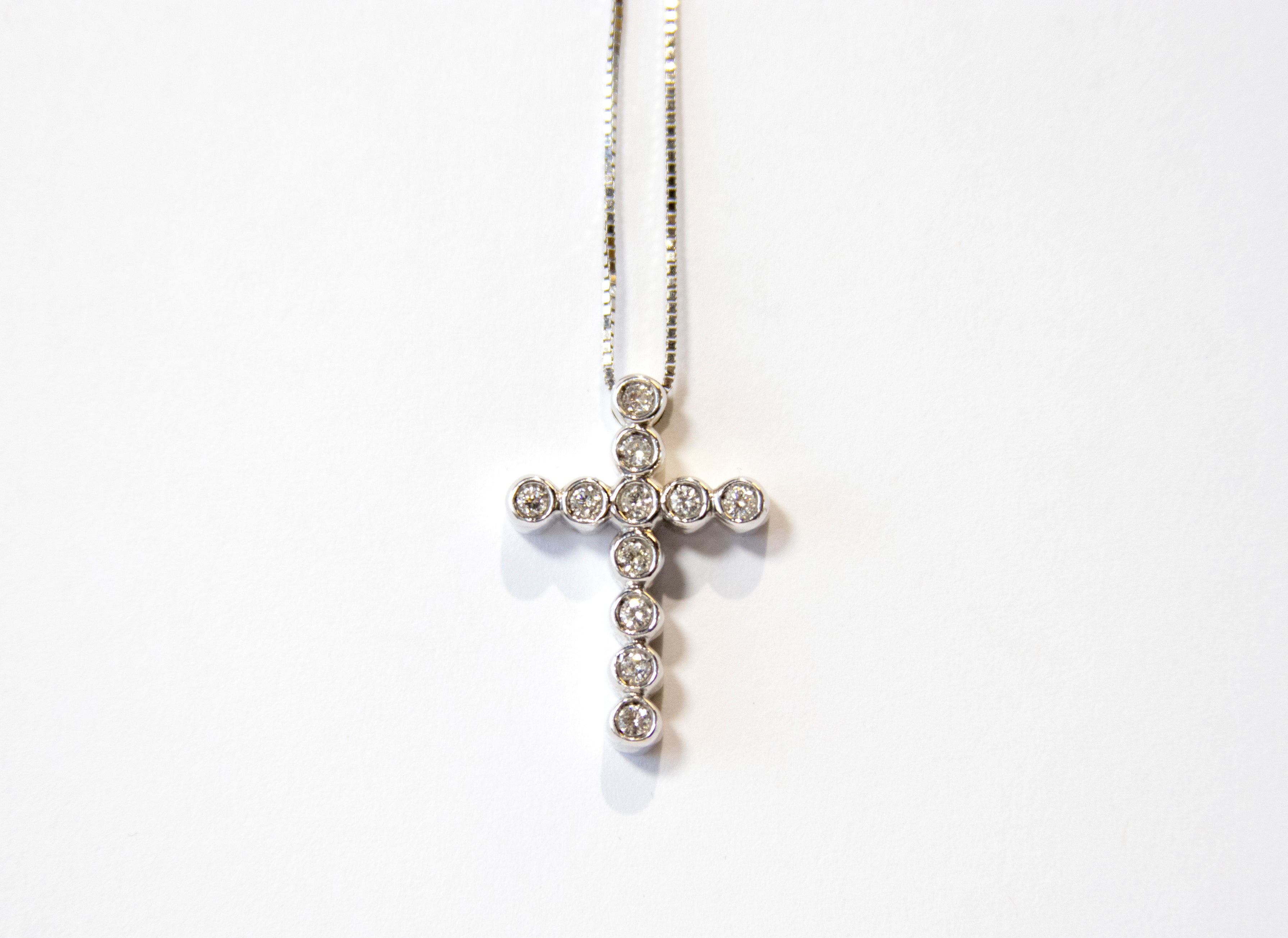 Diamond Bezel Cross Necklace 14k