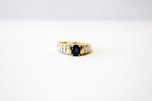 Estate Sapphire and Diamond Ring 14k