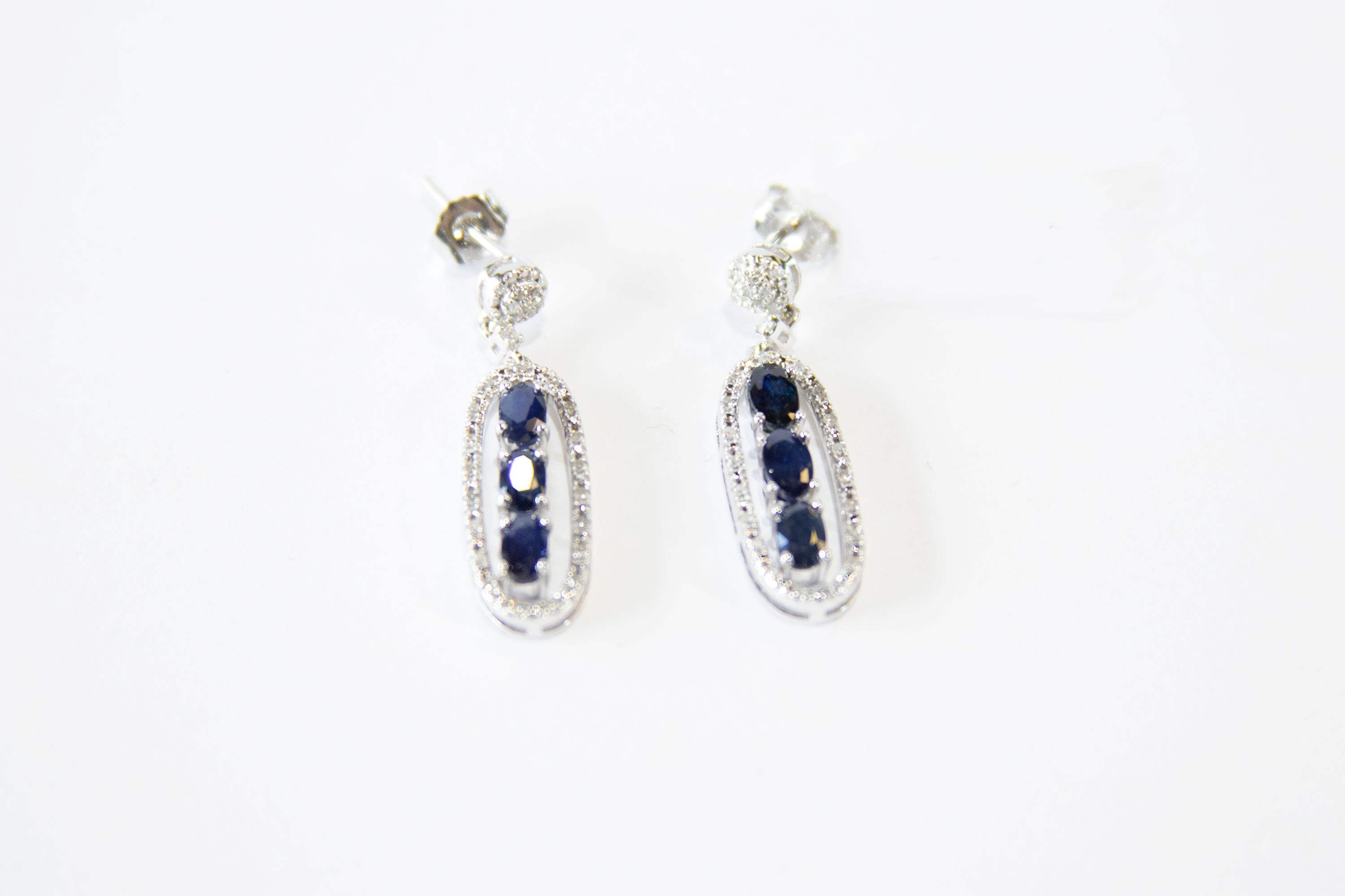 Diamond and Sapphire Link Earrings 14k