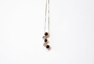 Ruby and Diamond Bezel Necklace 14k