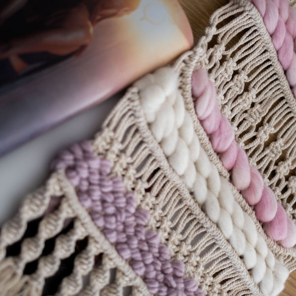 Pink and cream macra-weaving by Esther Macrame