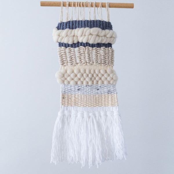 Blue and cream macra-weaving by Esther Macrame