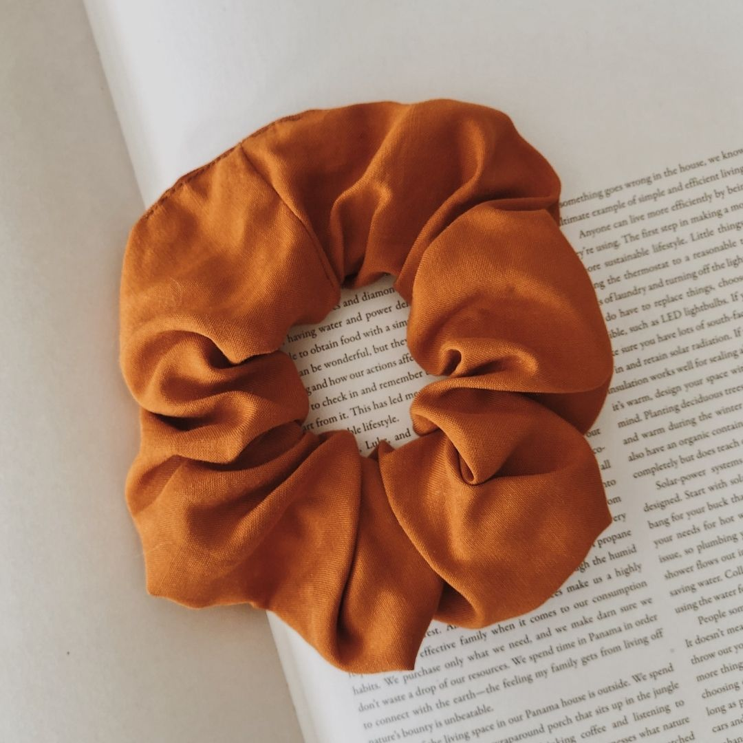 Cotton Burnt Orange Scrunchie
