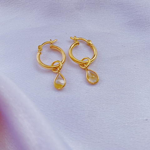 Citrine Teardrop Earrings- small