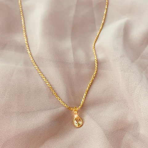 Citrine Teardrop Pendant Necklace