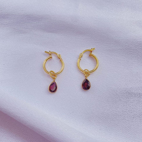 Garnet Teardrop Earrings- small