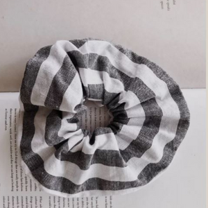 Grey Stripe Scrunchie