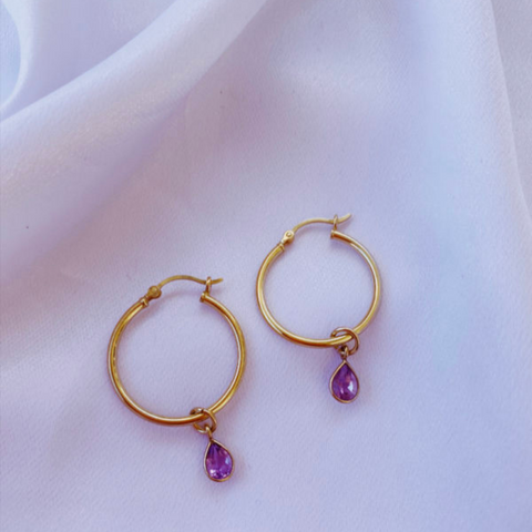 Amethyst Teardrop Earrings- medium