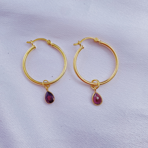 Garnet Teardrop Earrings- medium