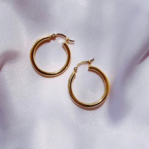 Thick Hoop Earrings- medium
