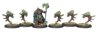 Hordes: Circle Orboros Druid Stoneward and Woldstalkers Unit (White Metal)