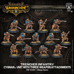 Warmachine: Cygnar Trencher Infantry with Three Weapon Attachments Unit (Plastic)