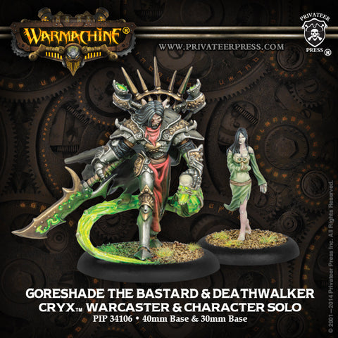 Warmachine: Cryx Goreshade the Bastard & Deathwalker Warcaster and Character Solo (White Metal)