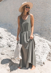 Sleeveless Racer back olive dress