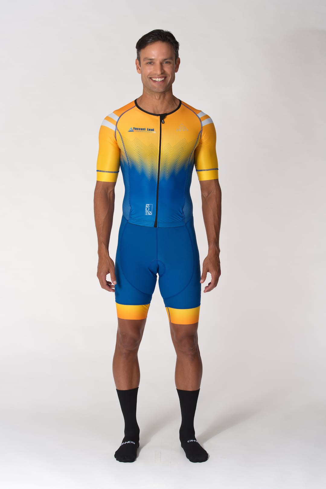 custom cycling skinsuit yellow blue no minimum order required
