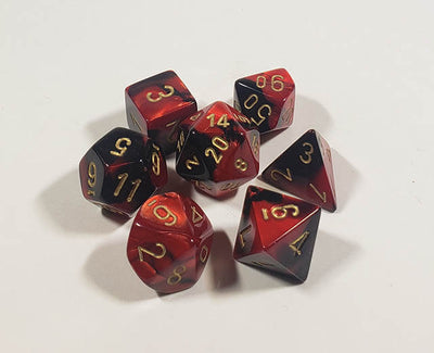 Gemini Black-Red with Gold Polyhedral