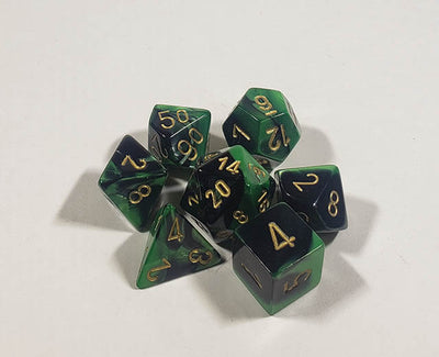 Gemini Black-Green with Gold Polyhedral