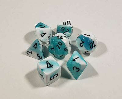 Gemini Teal-White with Black Polyhedral