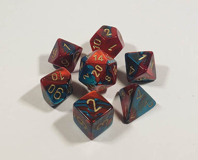 Gemini Red-Teal with Gold Polyhedral
