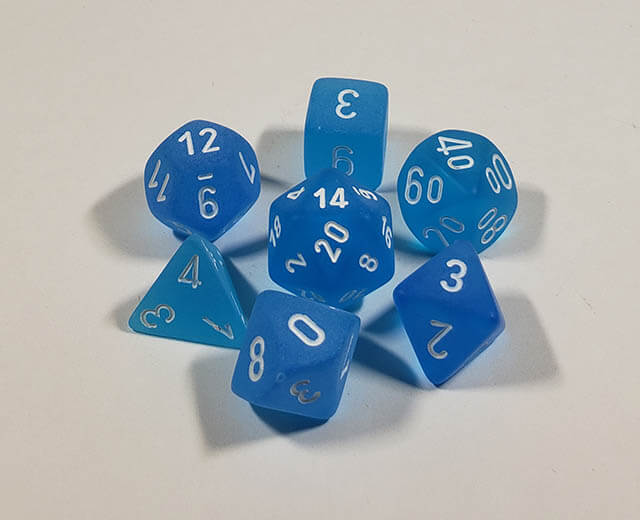 Frosted Caribbean Blue with White Polyhedral