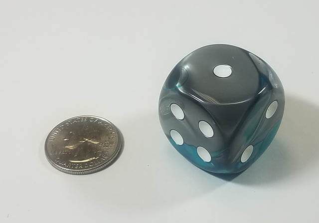 Gemini Steel & Teal with White 30mm d6